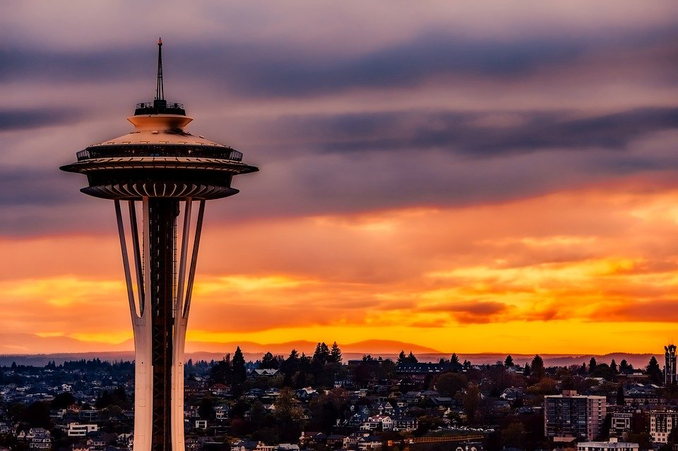 Seattle Space Needle at sunset