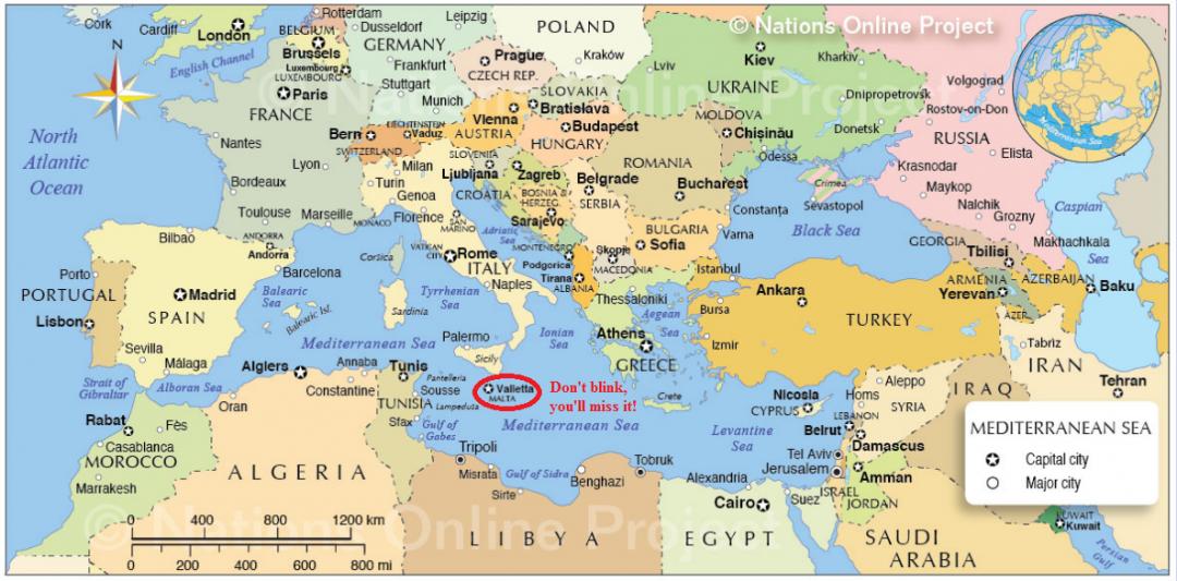 Mediterranean Map, Malta