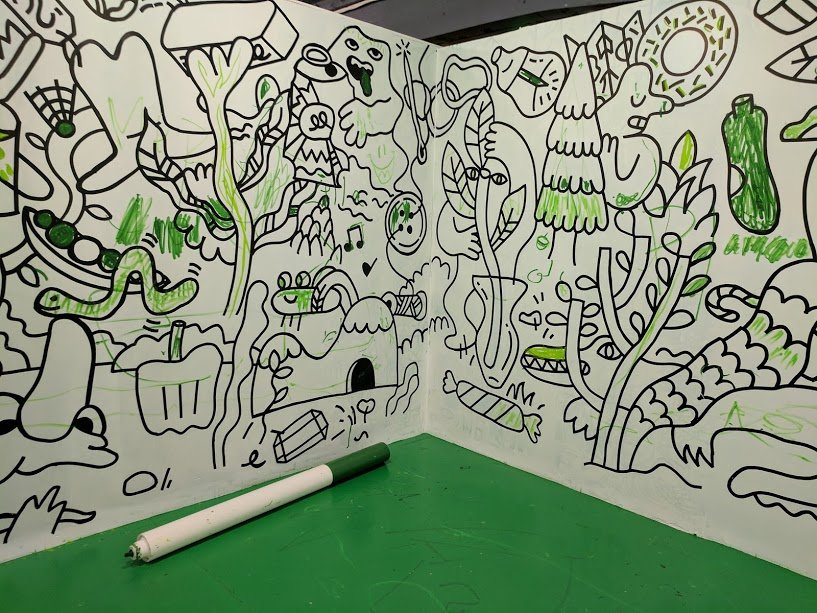 Colouring the walls green