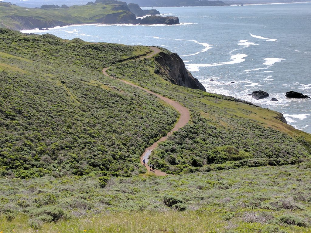 Hiking Rodeo Beach bluffs