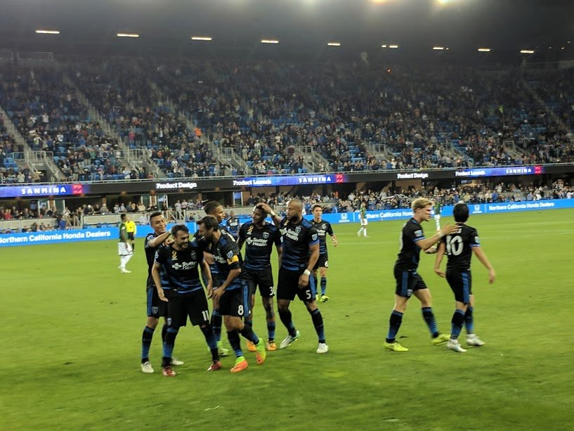 San Jose Earthquakes post-goal during a US soccer game against the Portland Timbers