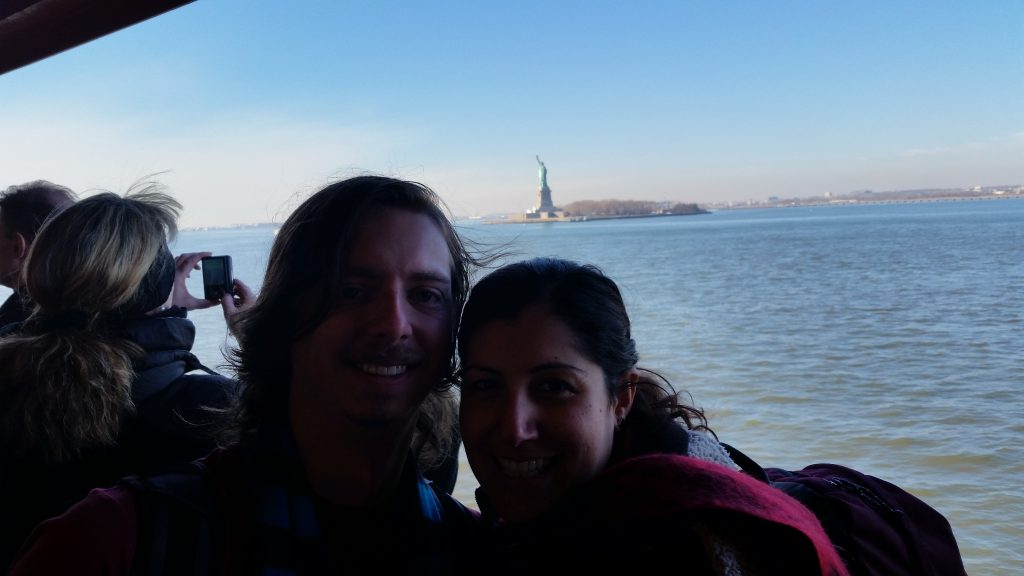 Getting the Ferry past the Statue of Liberty