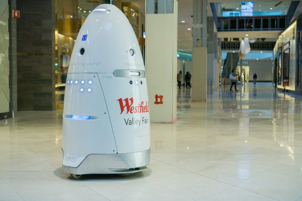 Mall security robots in San Jose