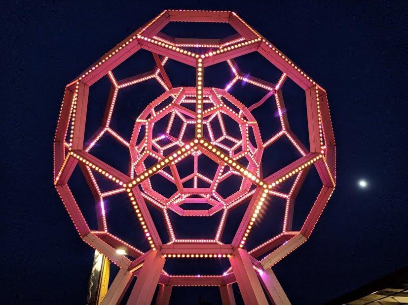 Buckyball lit up San Francisco at night