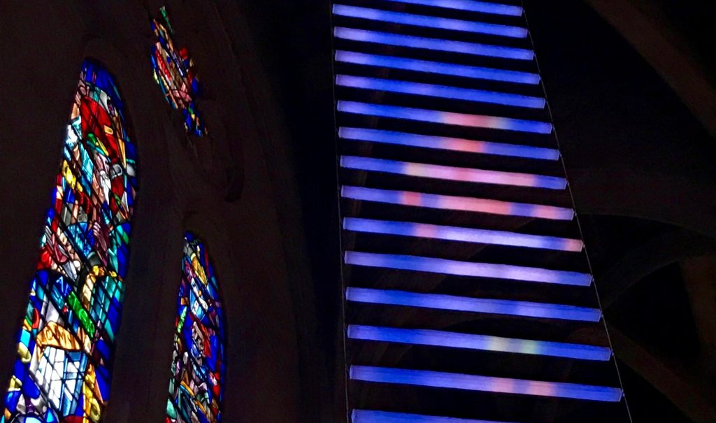 Jacob's Ladder light artwork inside San Francisco's Grace Cathedral