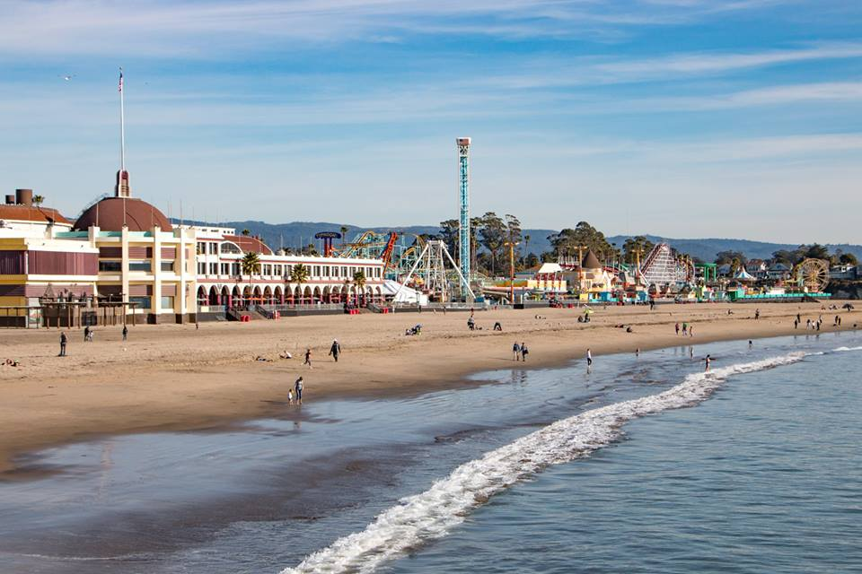 The Santa Cruz Beach Boardwalk from the ocean