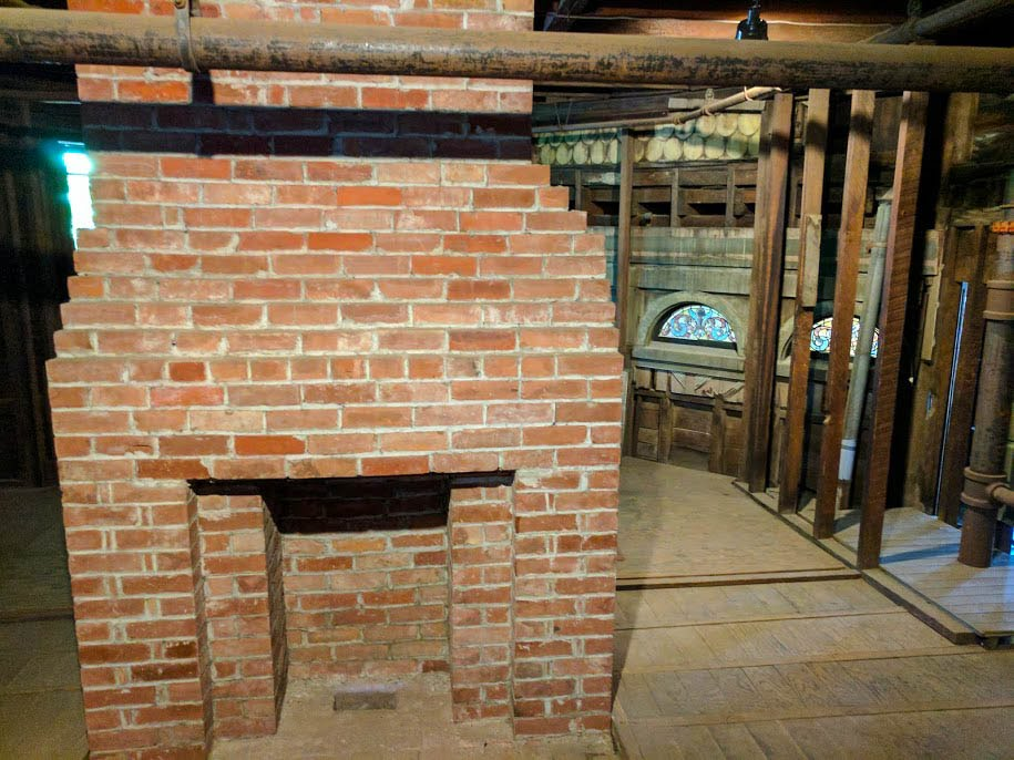 An unfinished fireplace in Winchester House
