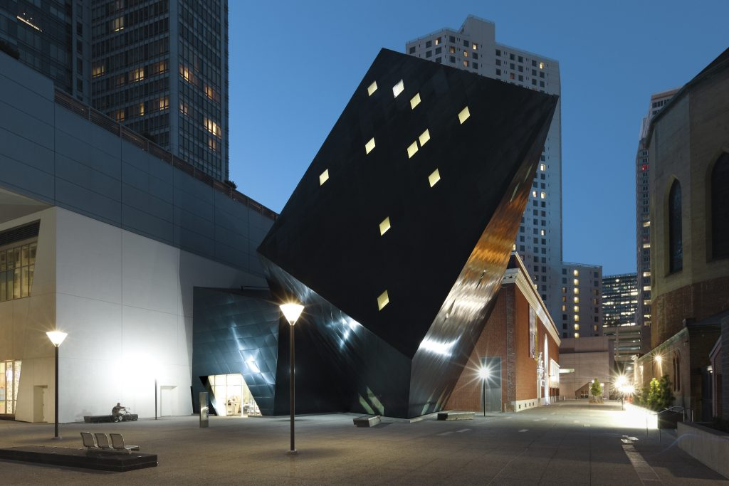 Diamonds cut into the side of the Jewish Contemporary Museum