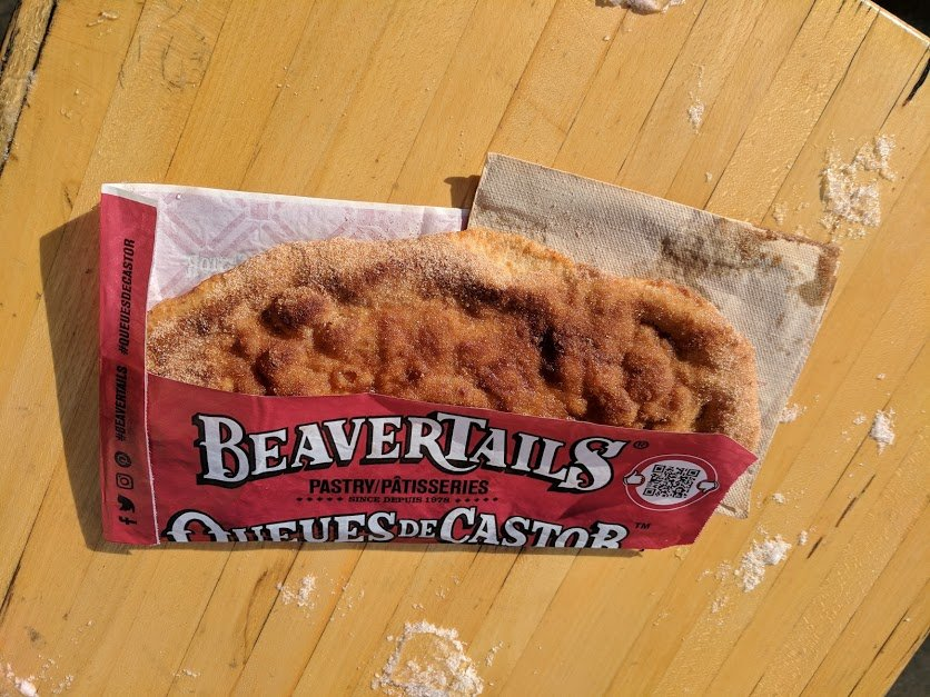 A cinnamon sugar Bearvertails pastry