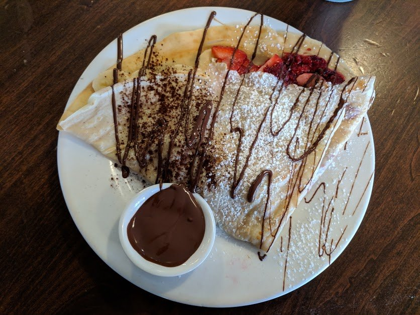 Chocolate and fruit crepe