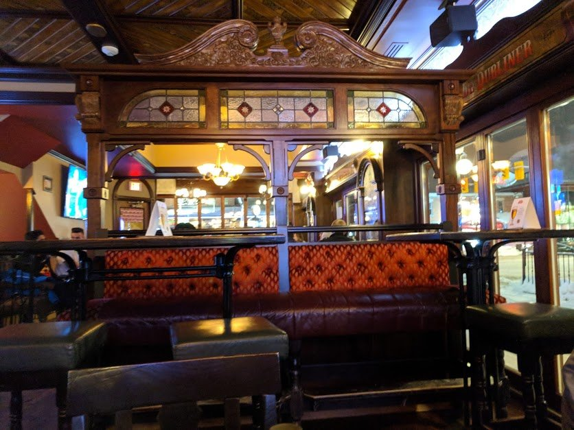 The wooden interior of the Auld Dubliner pub