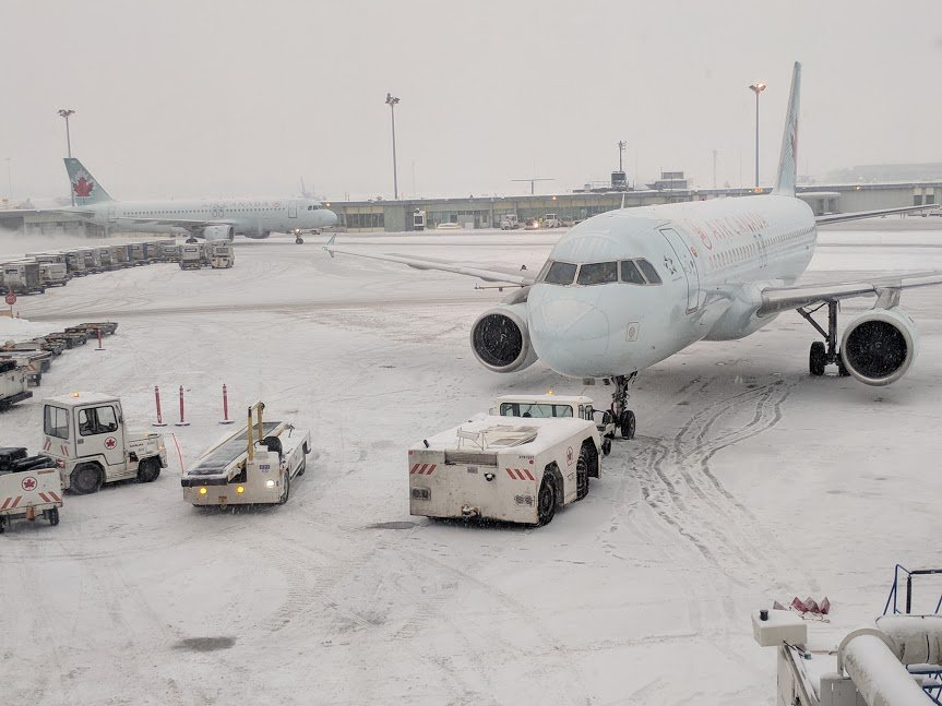 Snow-covered airport