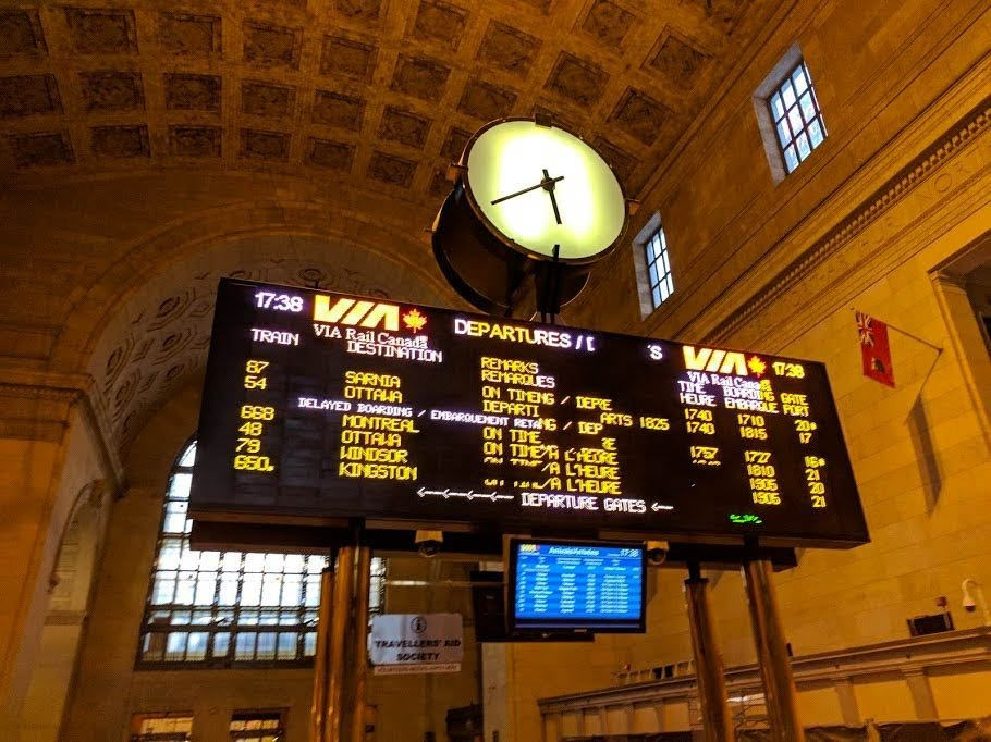 The Departures board at Toronto Train Station