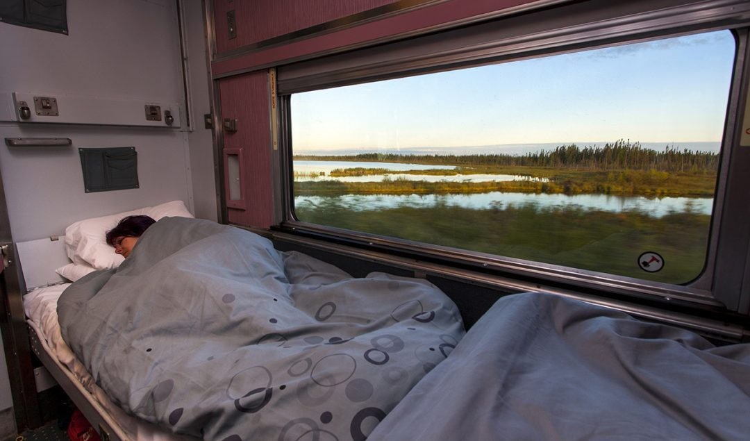 A VIA Rail train sleeper cabin