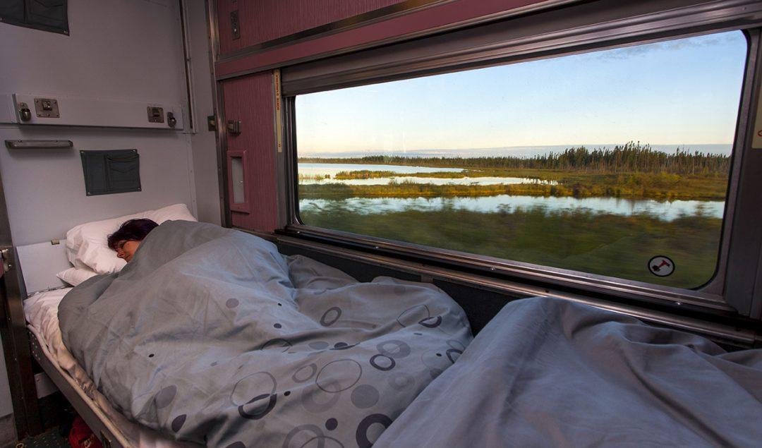 A VIA Rail train sleeper cabin