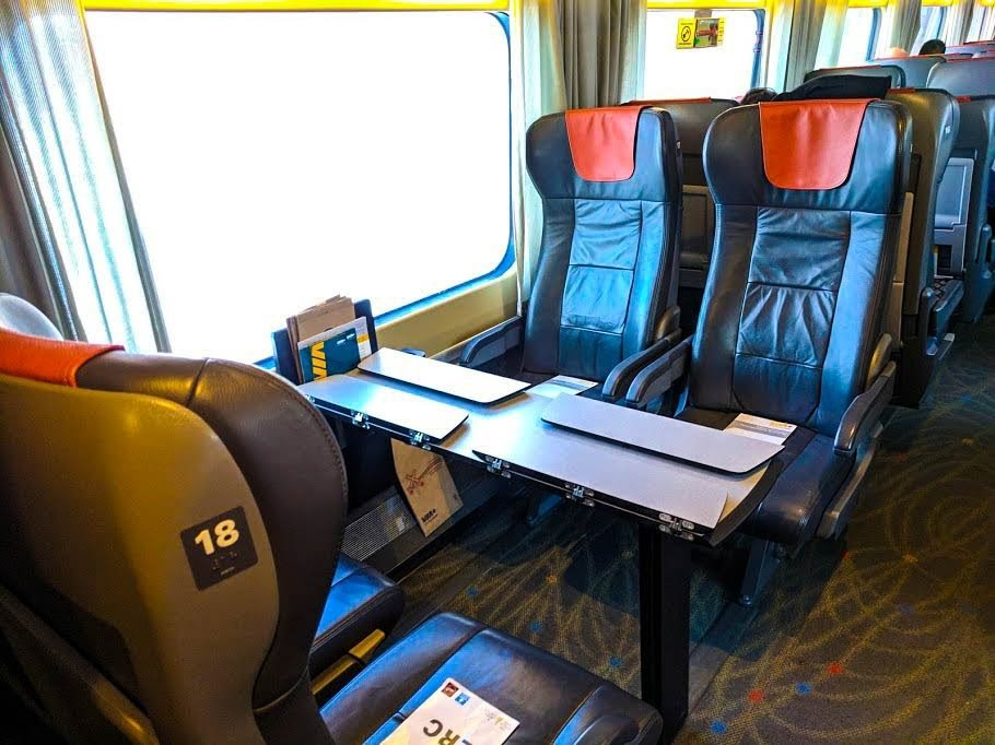 VIA Rail's table seats are perfect for working from.