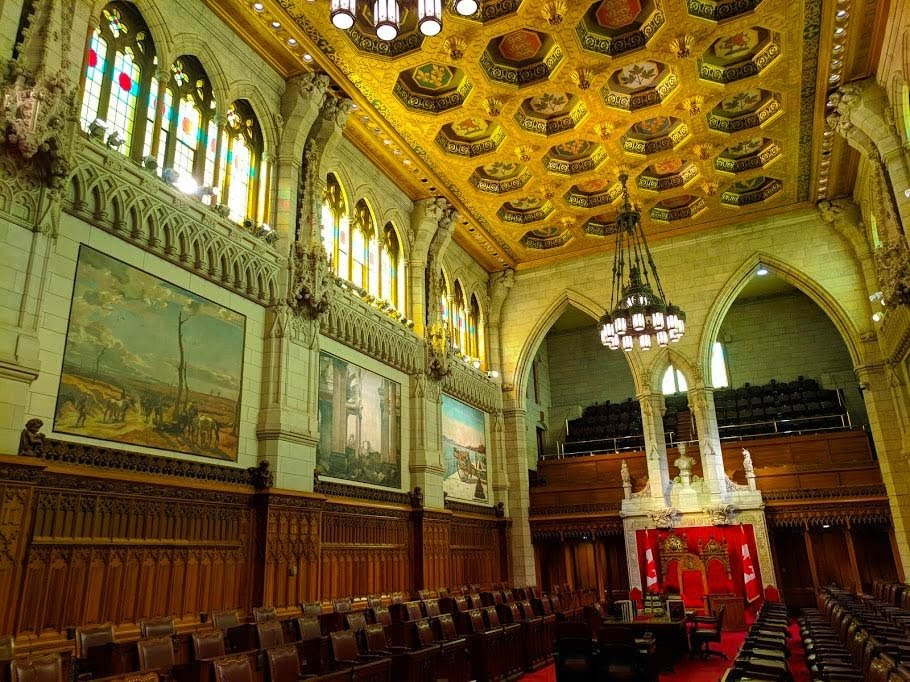 The Senate room inside the Ottawa Parliament