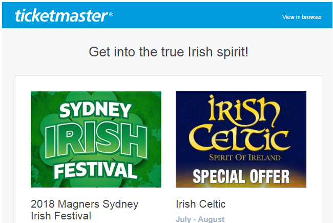 Ticketmaster email for Sydney events