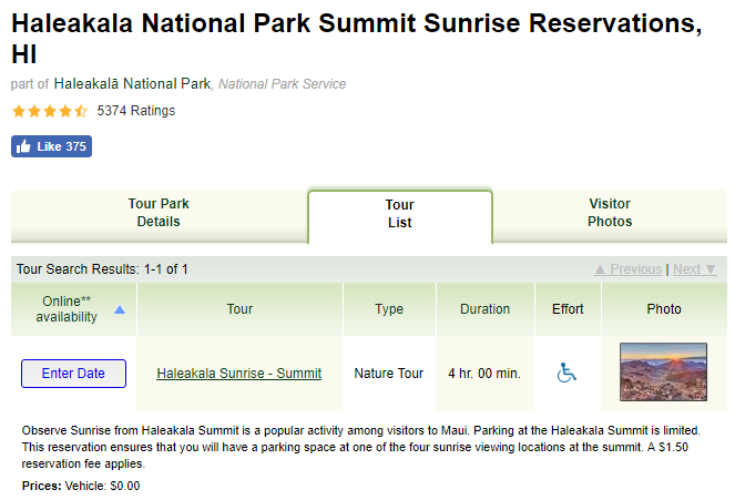 Haleakala sunrise reservation form