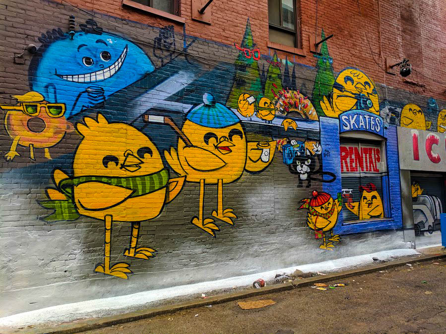 Uber5000 artwork of chickens in Toronto