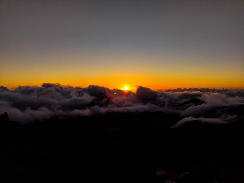Watching the sun rise at Haleakala