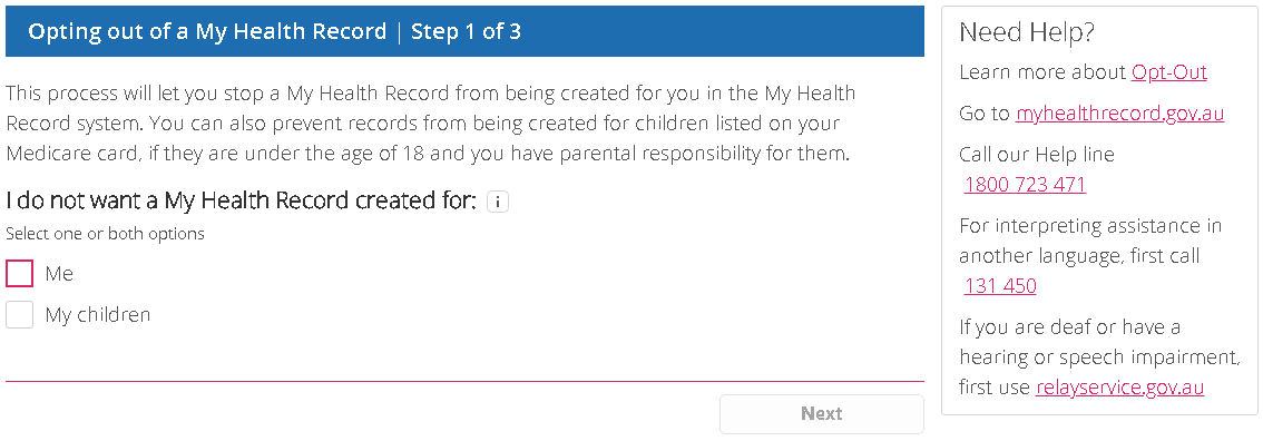 Opt-out of My Health Record