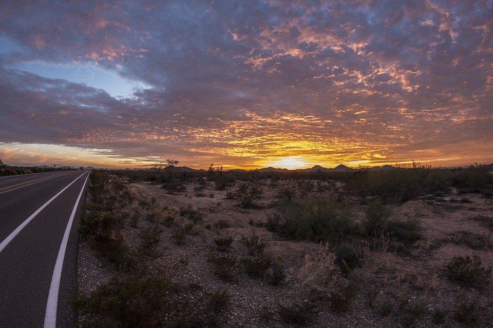 The sun setting outside of Phoenix, Arizona