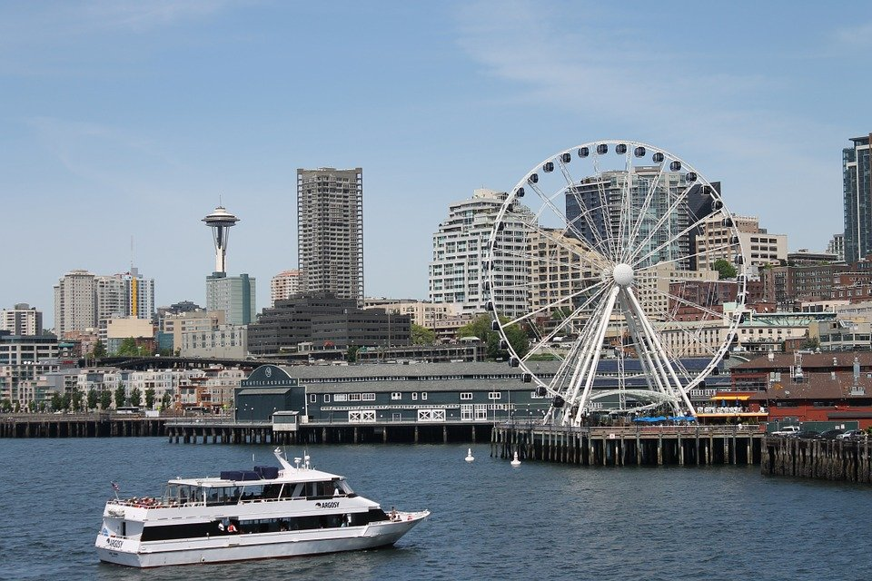 The Space Needle and Great Wheel in Washington