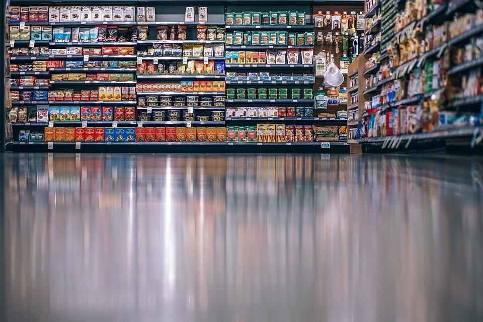 Supermarket shelves with non-perishable food