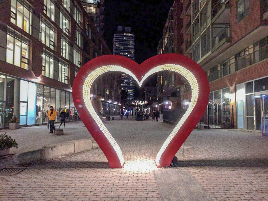 Light art love heart in Toronto
