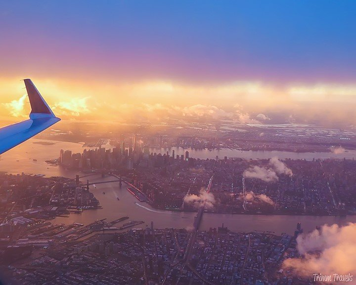 New York City skyline from plane window