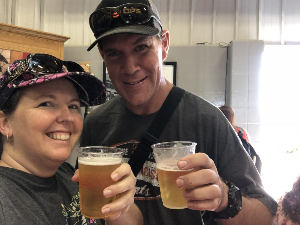 Couple drinking a glass of beer