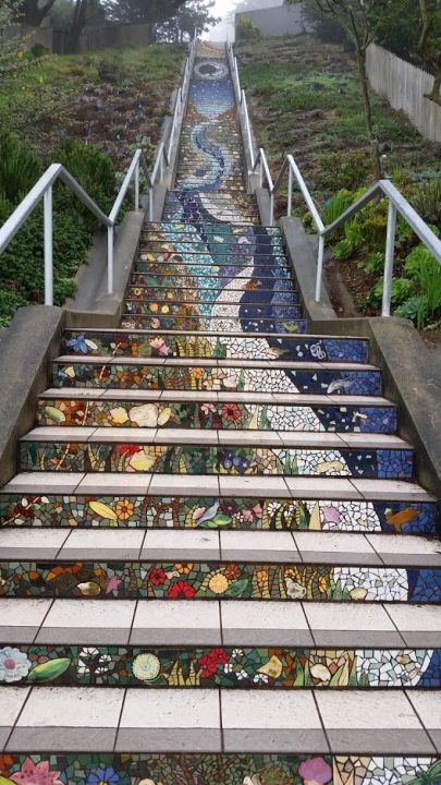 San Francisco's 16th avenue tiled staircase is made of mosaic