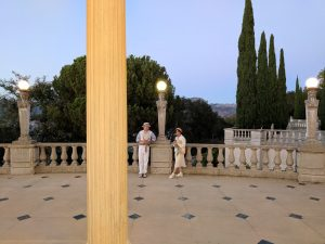 Docents viewing the Hearst Castle Neptune Pool