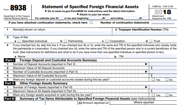 FBAR form from the IRS