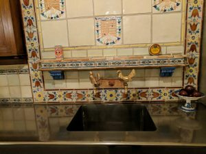 Mosaic sink splashback at Hearst Castle