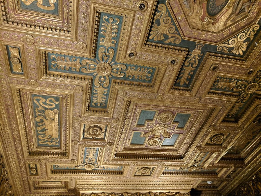 Ornate gold and teal ceiling in Casa Del Mar