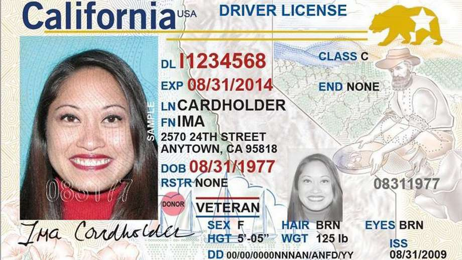 California Real ID example card