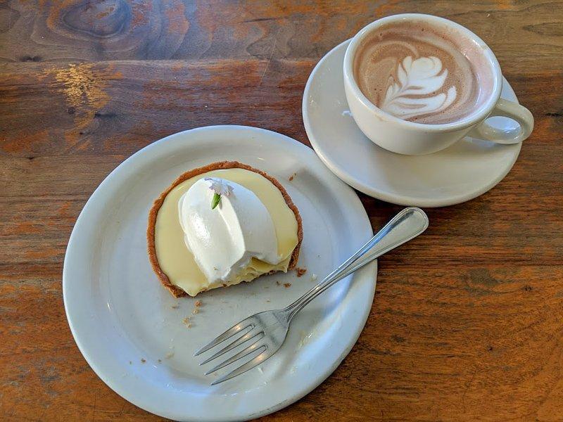 Tartine Bakery tart and hot chocolate