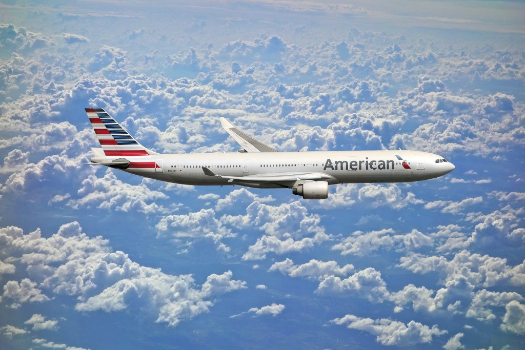 American Airlines jet in the sky