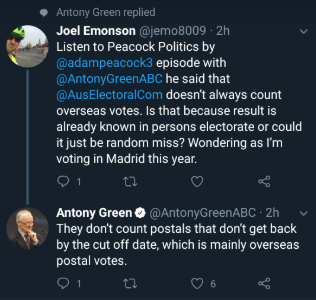 Tweet about overseas postal votes