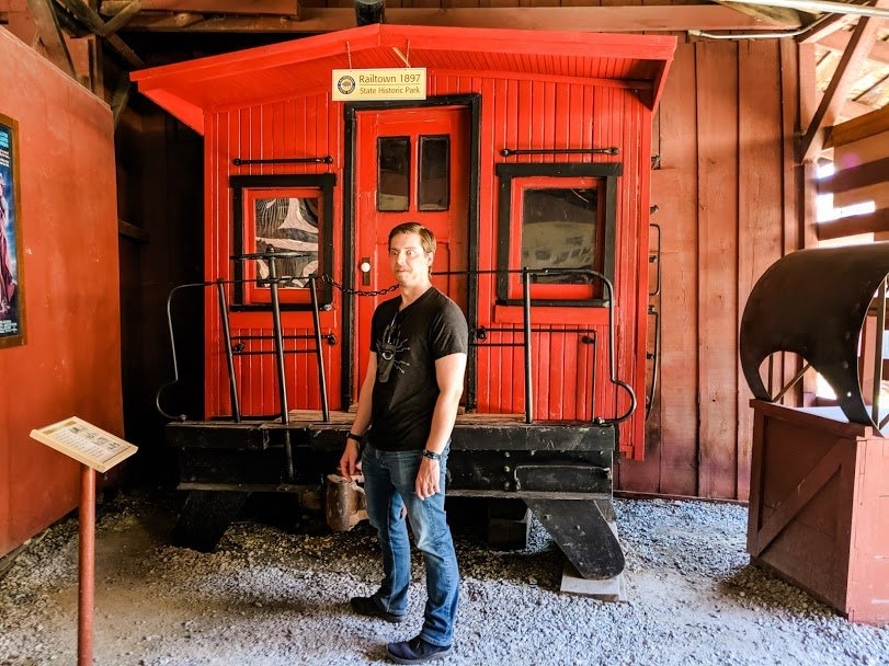 Man standing in front of caboose used in Back to the Future III