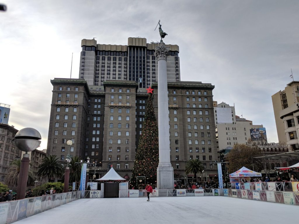 Ice skating and Christmas tree in Union Square San Francisco