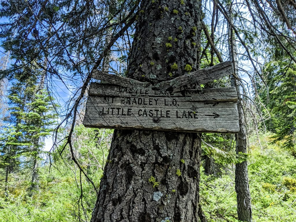 Little Castle Lake Trail sign