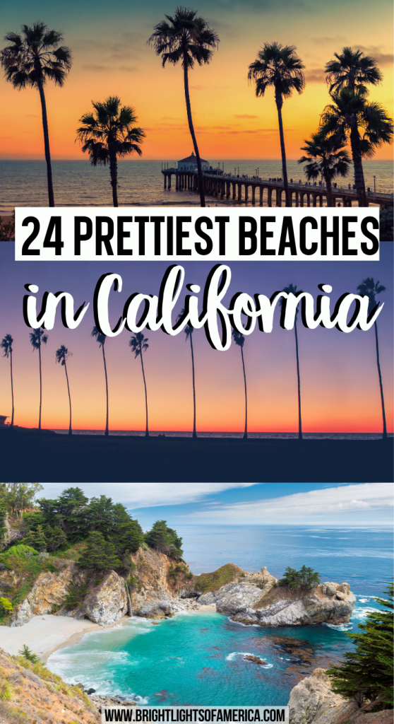 24 prettiest beaches in California. Including La Jolla Beach, Newport Beach, Torrey Pines State Beach, Venice Beach, West Beach, Windansea Beach, Stinson Beach, Pebble Beach, Santa Monica State Beach, Pfeiffer Beach, Pescadero State Beach, Santa Cruz Beach, and Baker Beach