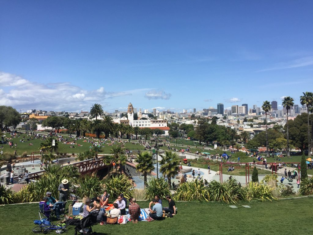 Dolores Park in San Francisco on a sunny day