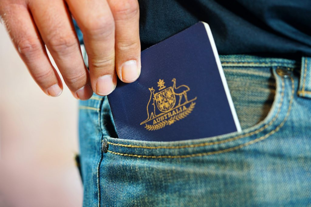 Australian passport in pocket