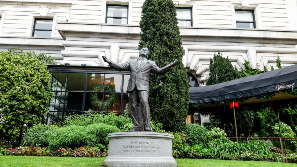 Tony Bennett statue, outside the Fairmont Hotel in San Francisco
