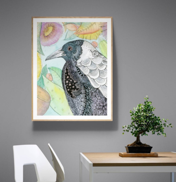 Gifts to send overseas, Magpie watercolour print.