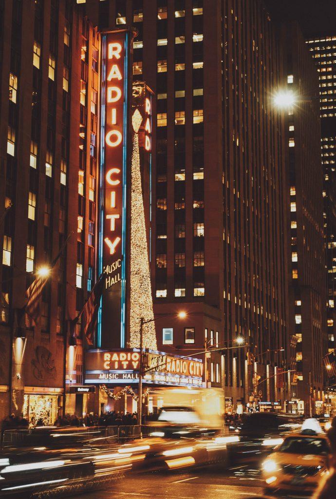 Christmas lights at Radio City Music Hall, New York